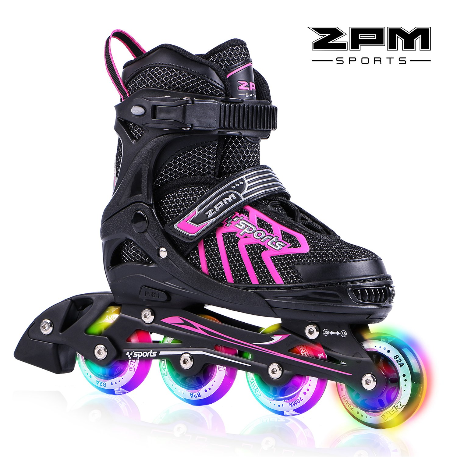 2PM SPORTS Brice Pink Adjustable Illuminating Inline Skates with Full Light Up LED Wheels, Fun Flashing rollerskates for Kids Girls and Boys