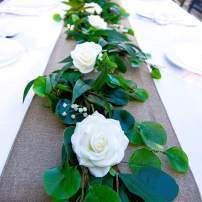 CeBliss Premium Cebliss-5ft Realistic Real Touch Artificial Flower Eucalyptus Greenary Leaves for Hanging Decor,Table Runner,Wedding Arch,Centerpieces,Reception, 5 ft, White Rose, Green Garland