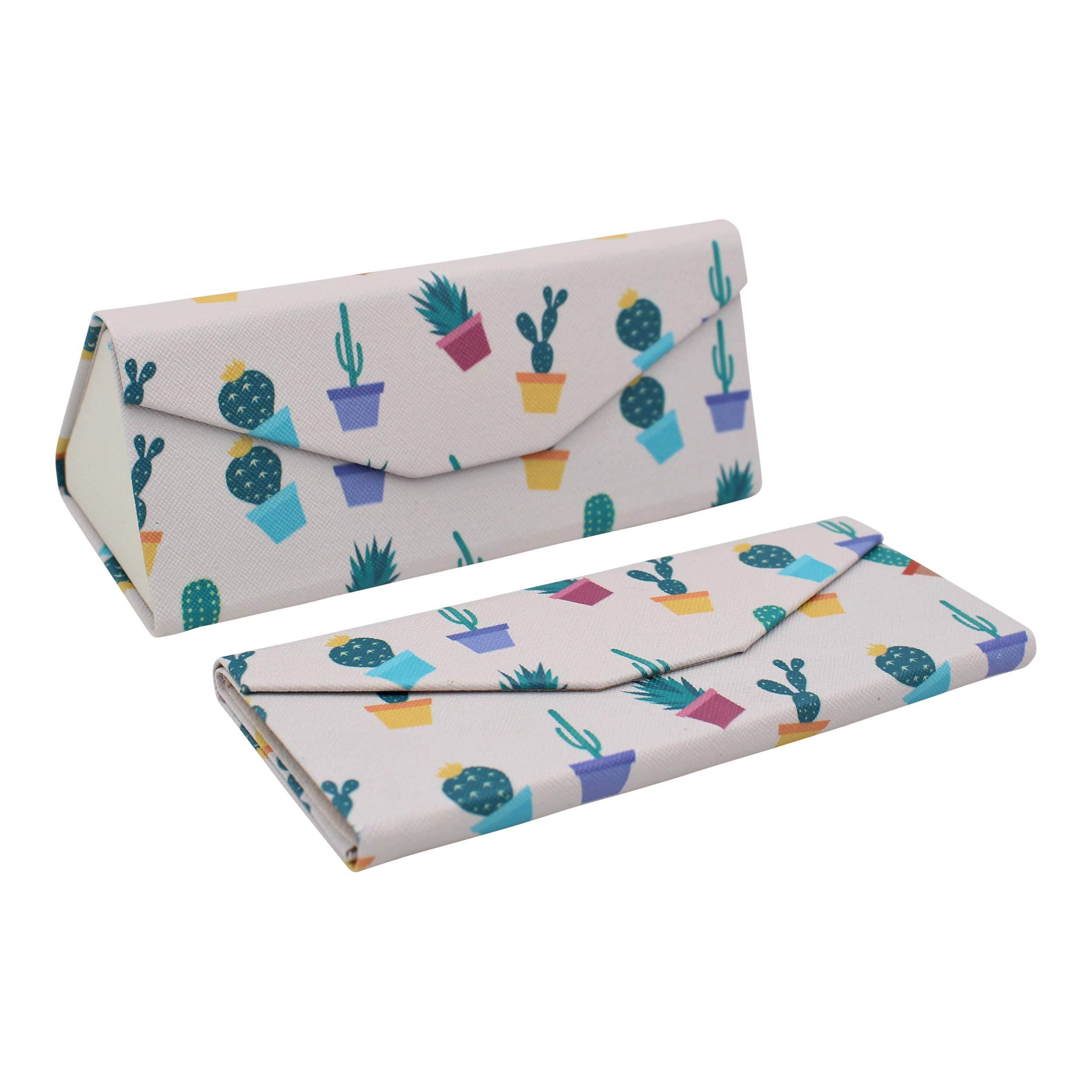REAL SIC Cactus Glasses Case - Eco Leather Magnetic Folding Hard Case - Cute Succulent Theme Designer Foldable Case for Eyeglasses, Sunglasses & Reading Glasses (Potted Cactus)