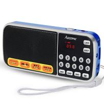 AM FM Portable Pocket Radio Battery Operated - with Best Reception. AM FM Compact USB Rechargeable Radios Music Player Support Micro SD/TF Card Slot (Blue)