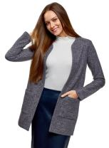 oodji Ultra Women's Textured Knit Cardigan with Patch Pockets