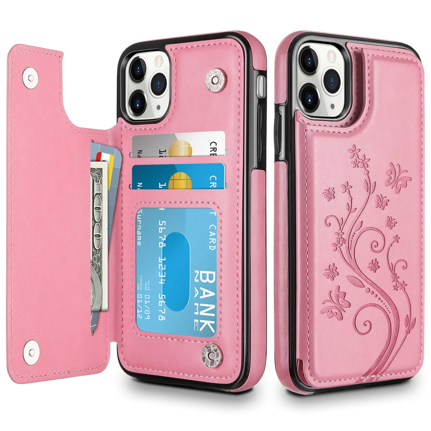HianDier Wallet Case for iPhone 11 Pro Case Slim Protective Case with Credit Card Slot Holder Flip Folio Soft PU Leather Magnetic Closure Cover for 2019 iPhone 11 Pro 5.8 Inches, Pink