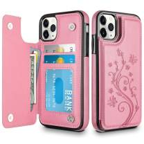 HianDier Wallet Case for iPhone 11 Pro Max Case Slim Protective Case with Credit Card Slot Holder Flip Folio Soft PU Leather Magnetic Closure Cover for 2019 iPhone 11 Pro Max 6.5 Inches, Pink