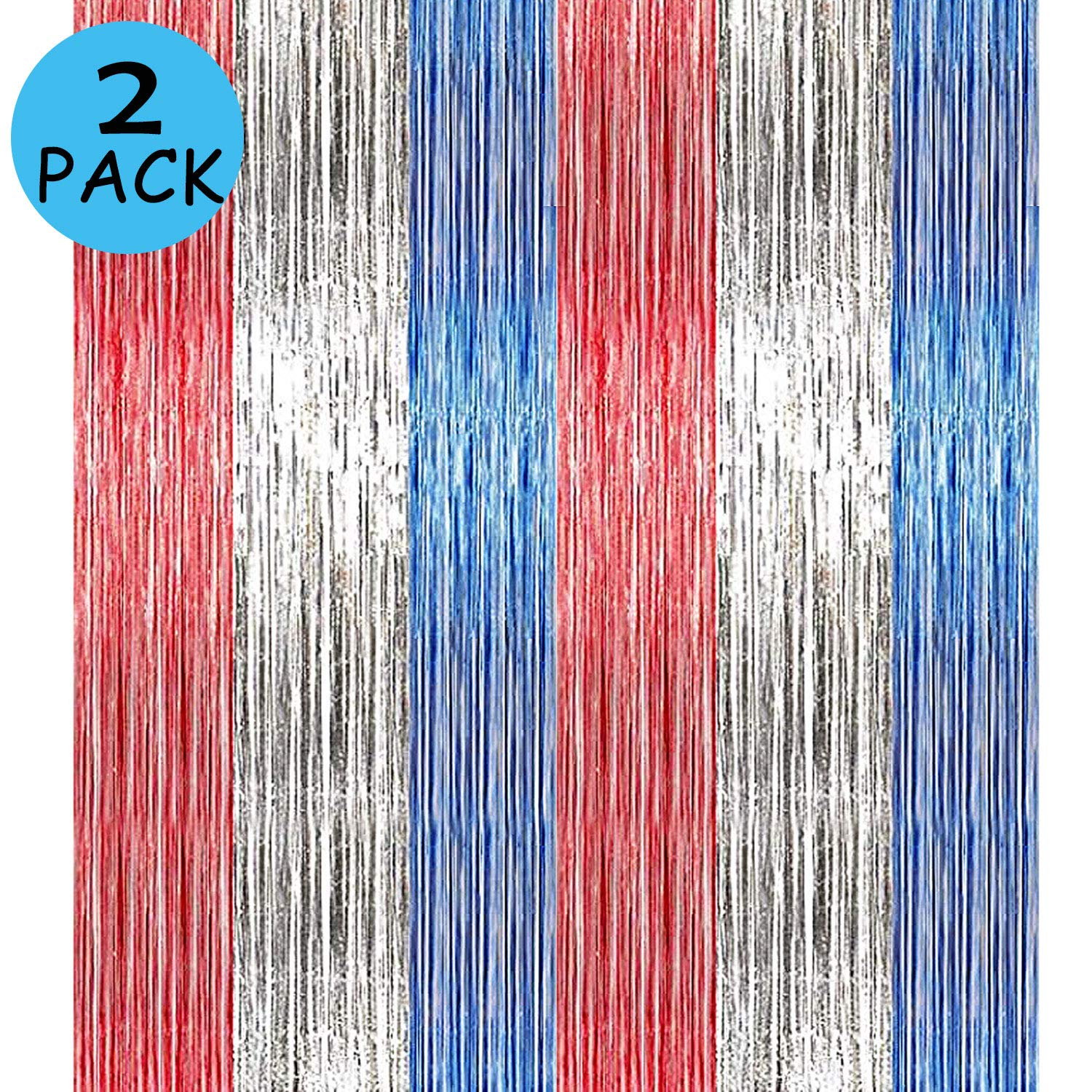Lansian 2Pack 4th of July Foil Fringe Curtains Tinsel Garland Independence Day DIY Blue Red Party Photo Booth Props Backdrop Door Wall Decorations