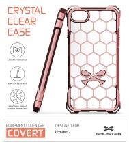 iPhone 7 Case, Ghostek Covert Series for Apple iPhone 8 Premium Hybrid Impact Protective Armor Case Cover | Clear TPU | Explosion-Proof Screen Protector | Ultra Fit | Bumper Spring Corners (Peach)