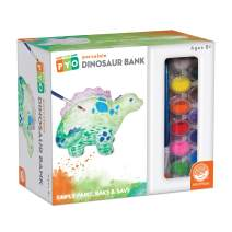 MindWare Paint Your Own Porcelain: Dinosaur Bank with Rubber Stopper, 12 Paints & 1 Brush - Creative paintable Pottery Crafts & Gift Kits for Kids