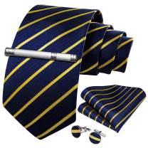 DiBanGu Men Tie Sets, Business Formal Striped Necktie with Pocket Square Cufflinks Gift Box