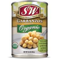 S&W - Organic Garbanzo Beans - Chickpeas - Canned Beans - 15.5 Ounce Can (Pack Of 12)