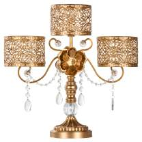Amalfi Decor Victoria Antique Gold Metal 3 Pillar Candle Holder, Wedding Table Hurricane Centerpiece Crystal Draped Accent Stand Display