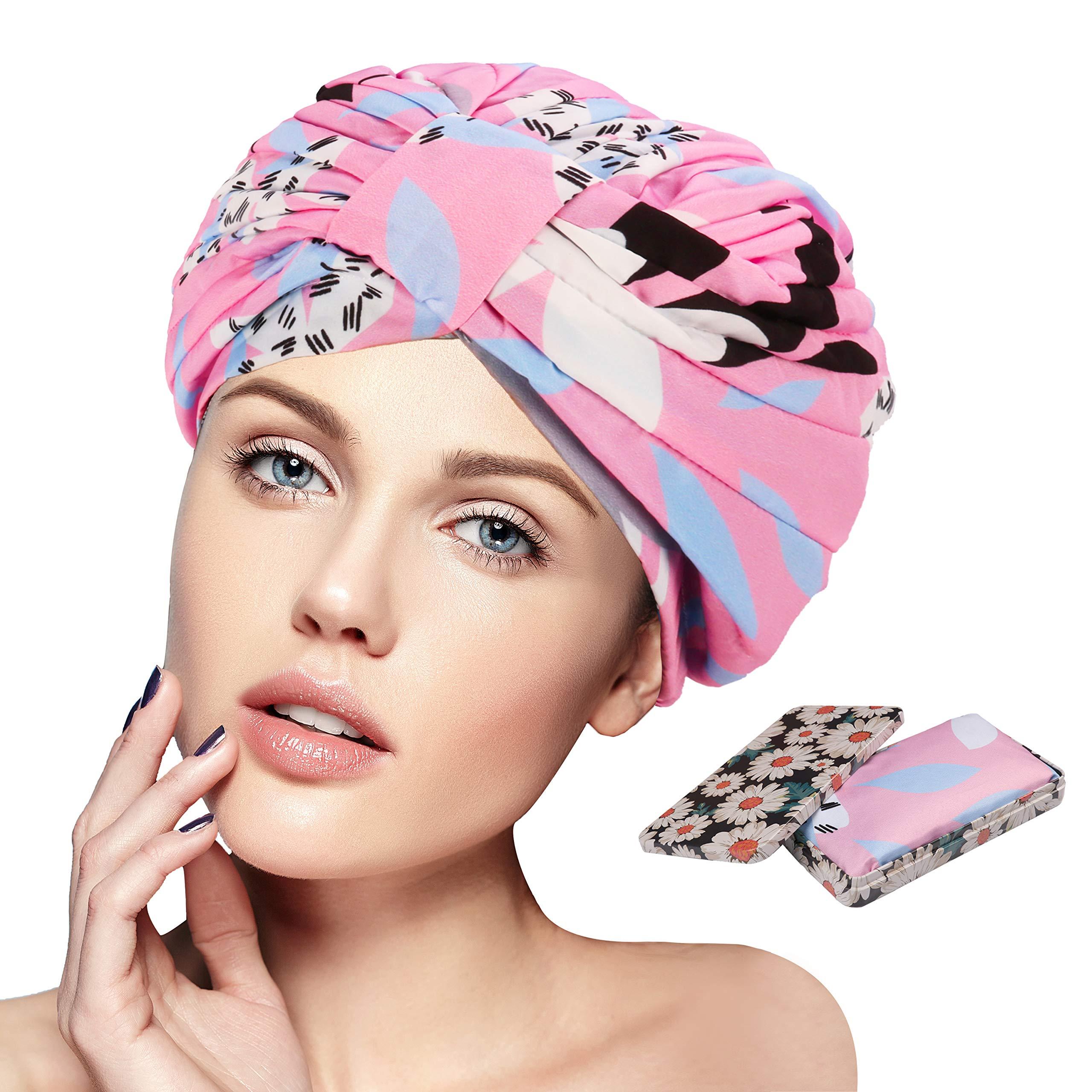 Shower Cap For Women Shower Caps For Long Hair Waterproof Wide Band Sleep Bonnet Cap Reusable Shower Hats