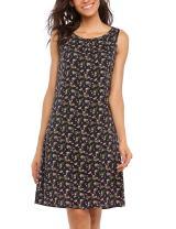 Meaneor Womens Casual Sleeveless Tank Dress Floral Print O Neck Loose Shirt Dress