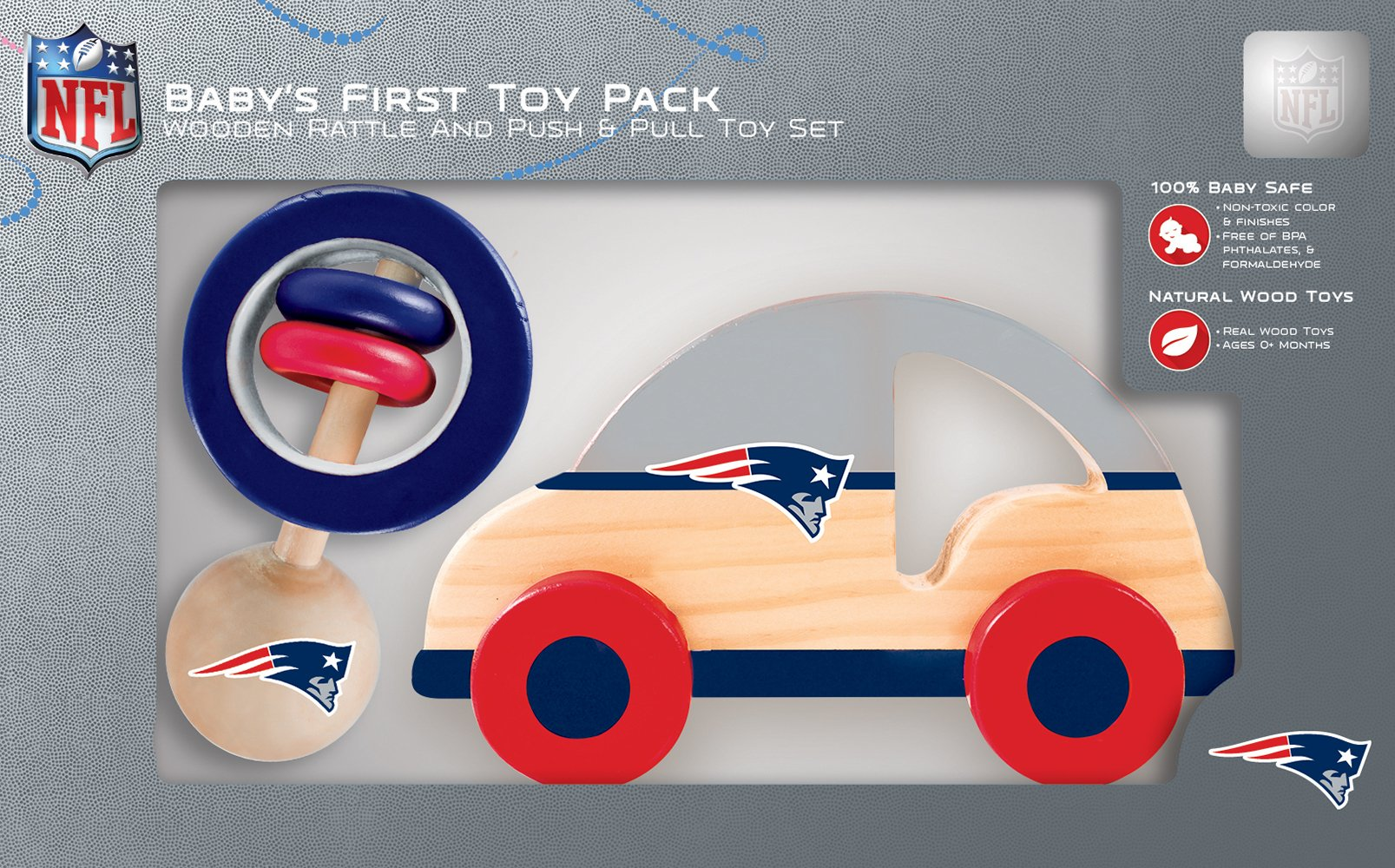 MasterPieces NFL New England Patriots Natural Wood, Non-Toxic, BPA, Phthalates, & Formaldehyde Free, Push - Pull Toy & Baby Rattle Combo Set, 2 Pieces
