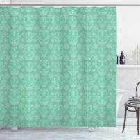 """Ambesonne Hamsa Shower Curtain, Ornate Motifs with Curlicues and Doodle Style Flowers Middle Eastern Mandala, Cloth Fabric Bathroom Decor Set with Hooks, 75"""" Long, Sea Green"""