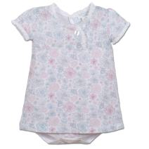 Feather Baby Girls Clothes Pima Cotton Short Sleeve Ruffle-Trim Twosie Bodysuit Dress