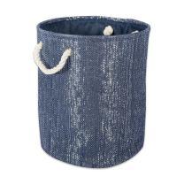 "DII CAMZ36853  Decorative Metallic Lurex Storage Basket, Collapsible & Convenient for Home Organizational Solutions (Large Round - 15x202""), Nautical Blue"