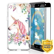 TJS Galaxy J7 2018/J7 Refine/J7 Star/J7 Eon/J7 TOP/J7 Aero/J7 Crown/J7 Aura/J7 V 2nd Gen Case, with [Full Coverage Tempered Glass Screen Protector] Transparent Clear Soft Skin (Unicorn)