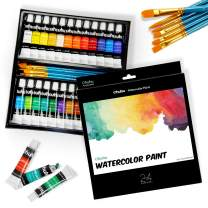 Watercolor Paint Set by Ohuhu 24 Premium Quality Art Watercolors Painting Kit with 6 Painting Brushes for Artists, Students Beginners - for Landscape Paintings Mother's Day Back to School Gifts