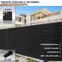 4' x 9' Privacy Fence Screen for Chain Link Fence in Black with Brass Grommet 85% Blockage Windscreen Outdoor Mesh Fencing Cover Netting 150GSM Fabric with Zip Ties - Custom Size