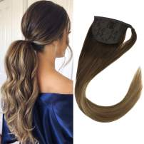 """VeSunny 20"""" Dark Brown Ombre Ponytail Extension Straight Human Hair 80G Thick Clip in Wrap Ponytail Hair Extensions Balayage Color #4 to #10 Mix #16 Golden Blonde"""