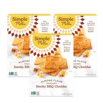 Simple Mills Almond Flour Crackers, Smoky BBQ Cheddar, Gluten Free, Flax Seed, Sunflower Seeds, Corn Free, Better for you Snacks, Made with whole foods, 3 Count, (Packaging May Vary)