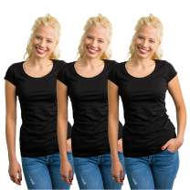 Rich Cotton Round Open Scoop Neck Women Basic Tee Cotton T-Shirt Multiple Pack Top Short Sleeves Blouse