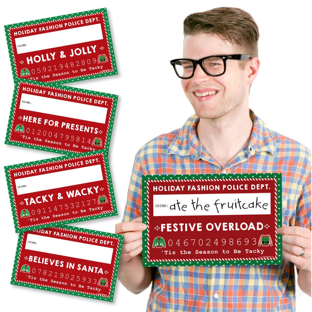Big Dot of Happiness Ugly Sweater - Party Mug Shots - Photo Booth Props Holiday & Christmas Party Mugshot Signs - 20 Count