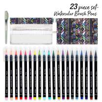 Watercolor Paint Brush Pens- 20 Pre-Filled Watercolor Pens Markers with Real Brush Tips for Water Coloring | Watercolor Brushes for Canvas, Painting, Calligraphy, Drawing for Kids, Adult, Artists