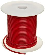 """UL1015 Commercial Copper Wire, Bright, Red, 22 AWG, 0.0253"""" Diameter, 100' Length (Pack of 1)"""