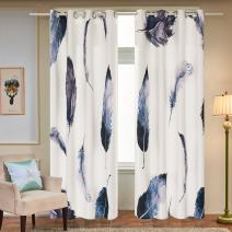 Fassbel 2 Panel Set Digital Printed Window Curtains Thermal Insulated for Bedroom Living Room Dining Room Kids Youth Room Window Drapes (W54× L84 Feather)