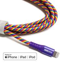 Tera Grand - Apple MFi Certified - Lightning to USB Braided Cable with Aluminum Housing, 7 Feet iPhone 11 Pro Max 11 Pro 11 XS XS Max XR 8 8 Plus 7 7 Plus iPad Pro Air Mini iPod Pride (Rainbow)