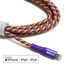 Tera Grand - Apple MFi Certified - Lightning to USB Braided Cable with Aluminum Housing, 7 Feet iPhone 11 Pro Max 11 Pro 11 XS XS Max XR 8 8 Plus 7 7 Plus iPad Pro Air Mini iPod Pride (Rainbow)