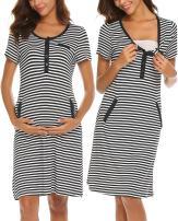 Ekouaer Maternity Sleepwear Women Nursing Nightgown Delivery Gowns Breastfeeding Dress Pregnancy Sleepshirt S-XXL