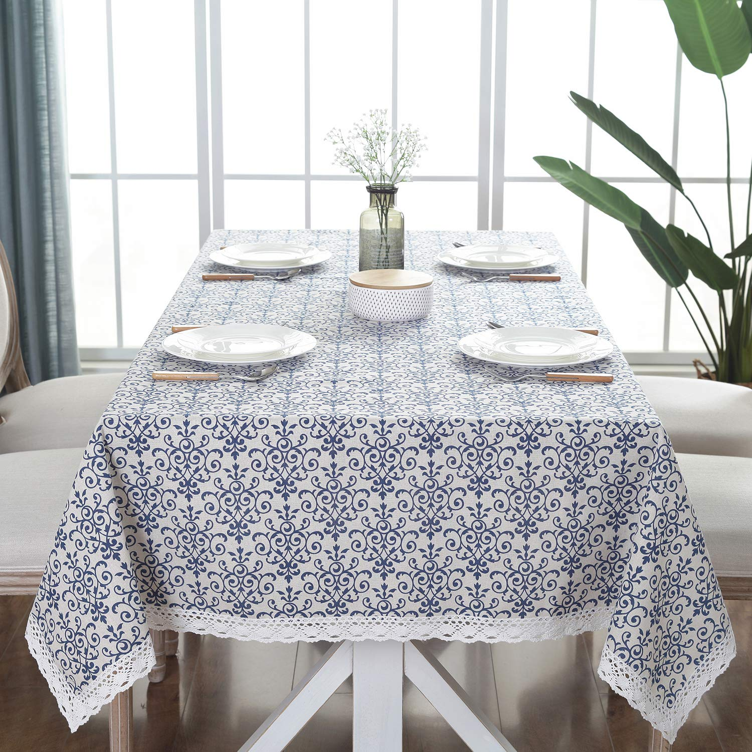 ColorBird Vintage Navy Damask Pattern Decorative Macrame Lace Tablecloth Heavy Weight Cotton Linen Fabric Decorative Table Top Cover, Rectangle/Oblong, 55 x 120 Inch