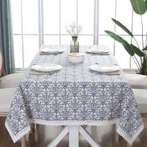 ColorBird Vintage Navy Damask Pattern Decorative Macrame Lace Tablecloth Heavy Weight Cotton Linen Fabric Decorative Table Top Cover, Rectangle/Oblong, 55 x 70 Inch