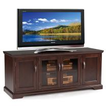 "Leick Furniture Chocolate Cherry and Bronze Glass 60"" W TV Stand"
