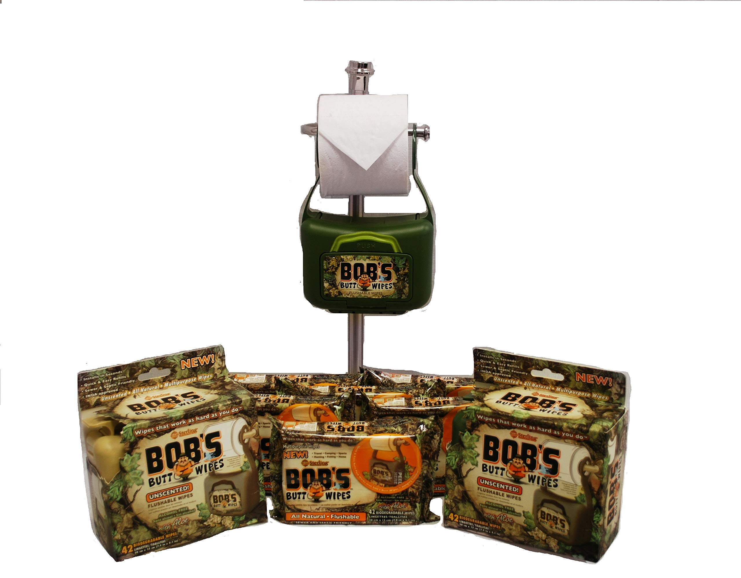 Bob's Butt Wipes 2 Hanging Dispensers & 6 Packs of 42ct. Flushable Wet Wipes