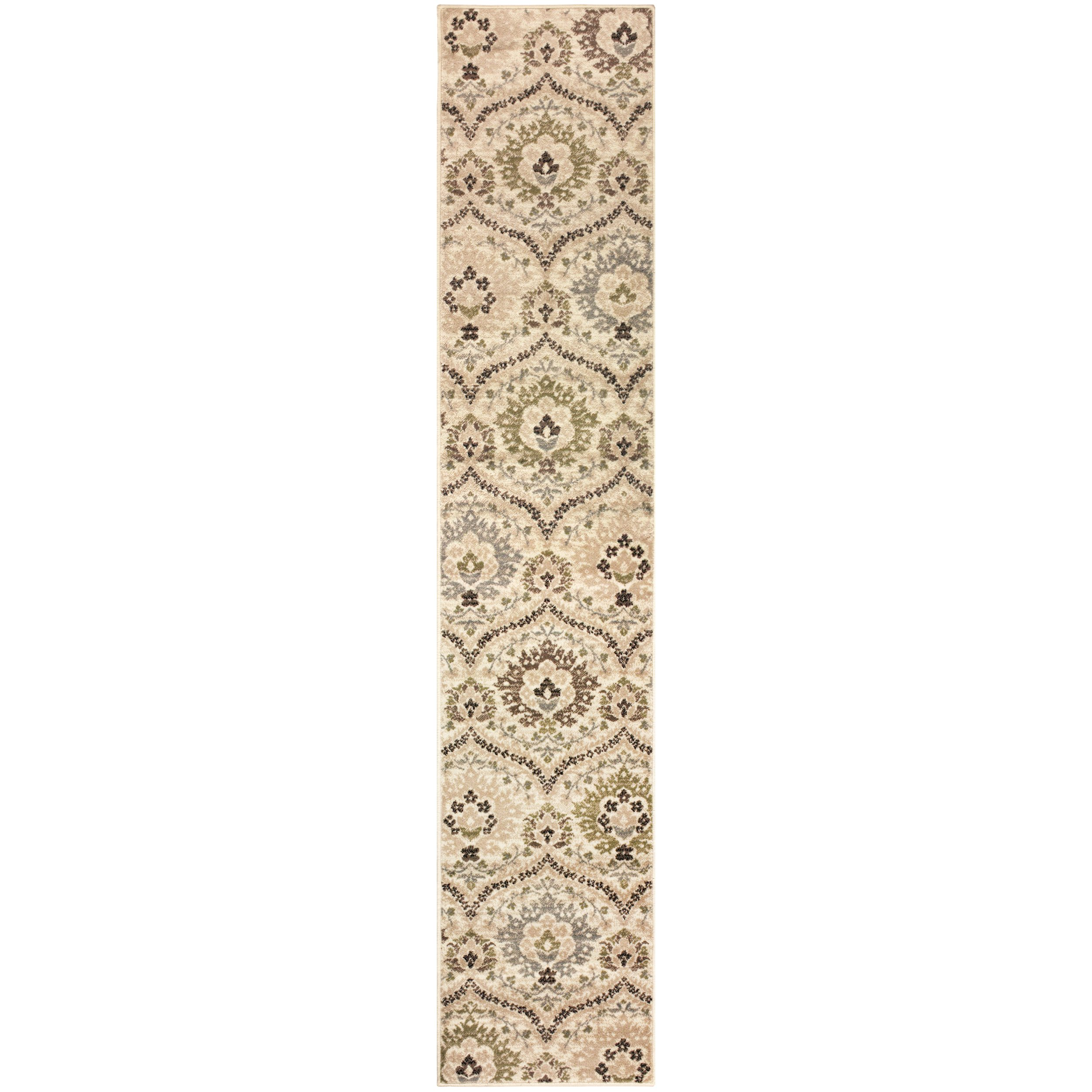 Superior Designer Augusta Collection Area Rug, 8mm Pile Height with Jute Backing, Beautiful Floral Scalloped Pattern, Anti-Static, Water-Repellent Rugs - Beige, 2' x 11' Runner