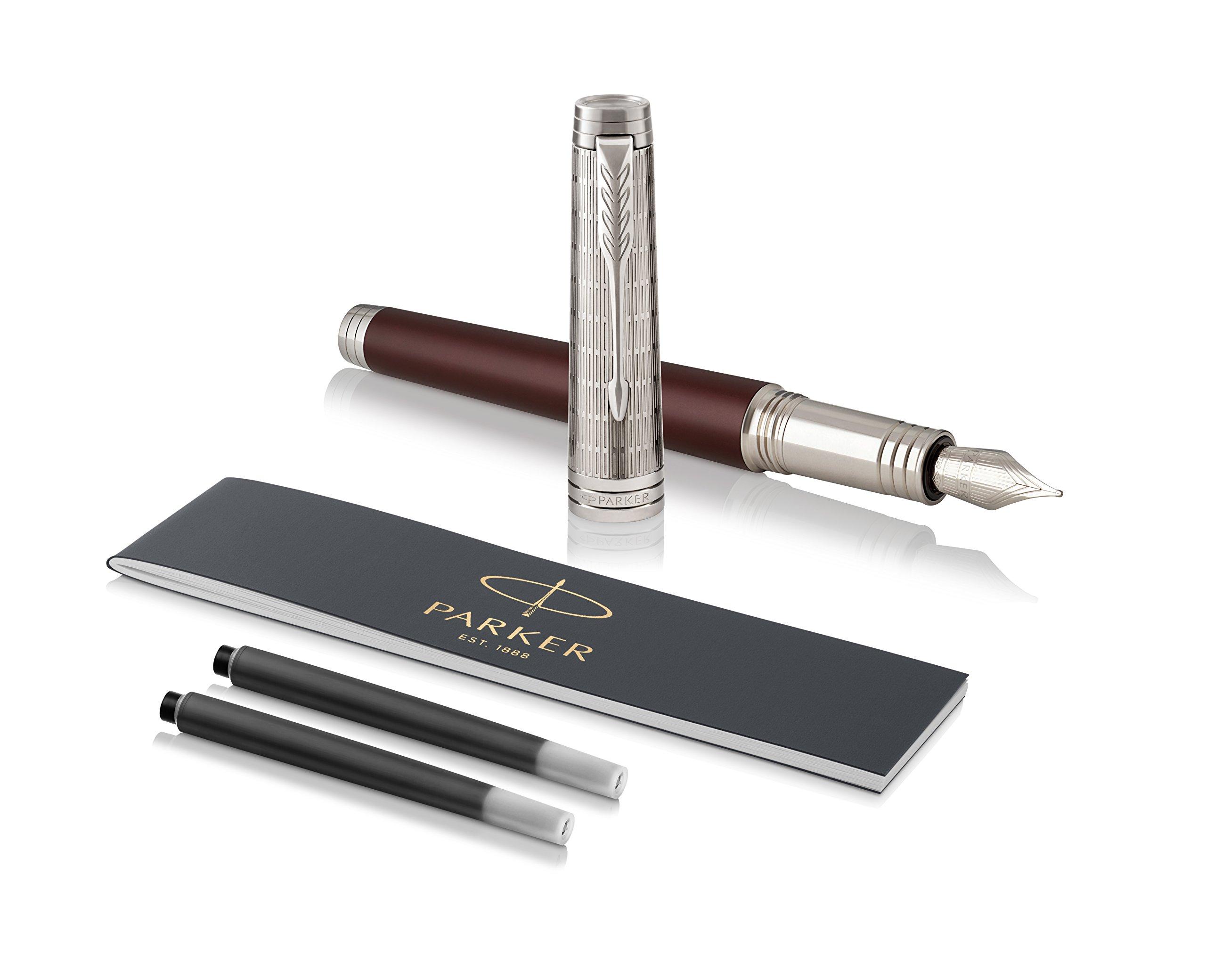 PARKER Premier Fountain Pen, Custom Crimson Red, Fine Nib with Black Ink Refill