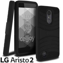 Celljoy Case Compatible with LG Aristo 2, LG Tribute Dynasty, LG X210 [EXO Armor] Hybrid Dual Layer - Silicone Skin/PC Shell ((Shock-Proof)) {Kickstand} Heavy Duty - Thick - Protective (Black/Black)