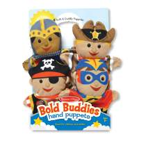 Melissa & Doug Bold Buddies Hand Puppets - The Original (Set of 4, Knight, Pirate, Sheriff, Superhero, Soft Plush, Great Gift for Girls and Boys - Best for 2, 3, 4, 5 and 6 Year Olds)