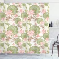 """Ambesonne Rubber Duck Shower Curtain, Mandarin Ducklings in Lake Flowers Lilies Vintage Print River Nature, Cloth Fabric Bathroom Decor Set with Hooks, 75"""" Long, Pink Green"""