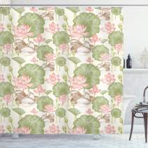 "Ambesonne Rubber Duck Shower Curtain, Mandarin Ducklings in Lake Flowers Lilies Vintage Print River Nature, Cloth Fabric Bathroom Decor Set with Hooks, 75"" Long, Pink Green"