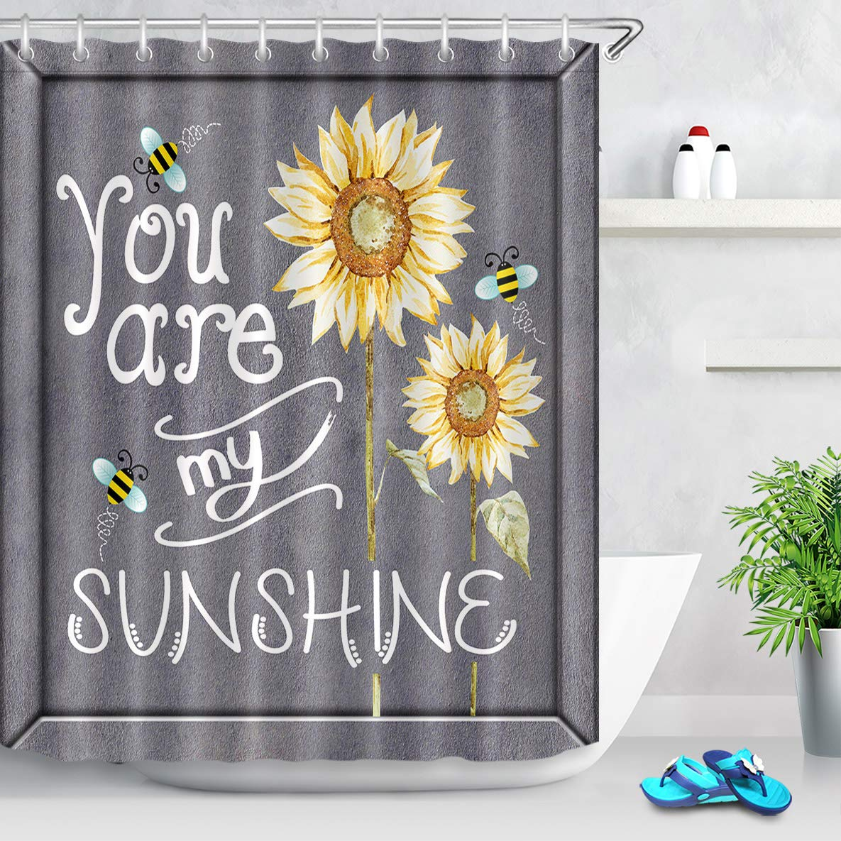LB Farm Style Watercolor Bees and Sunflowers Shower Curtain with 'You are My Sunshine' Quote Shower Curtain on Rustic Grey Backdrop 60x72 Inch Polyester Fabric with 10 Hooks