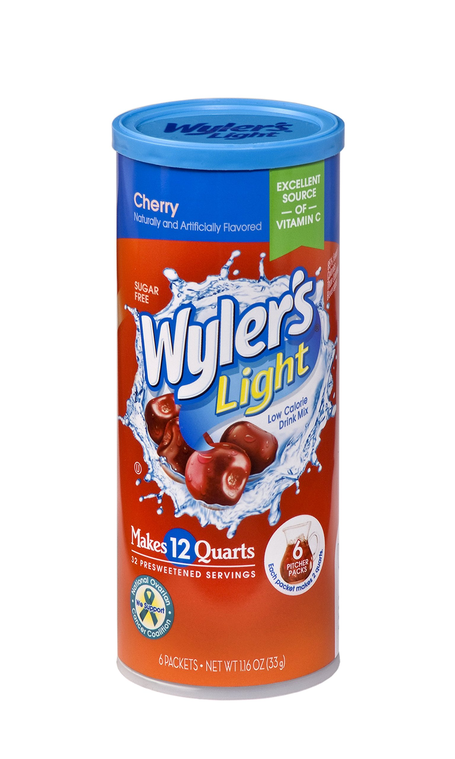 Wyler's Light Canister Drink Mix - Cherry Water Powder Enhancer Canister (6 Canisters that make 12 Quarts Each)