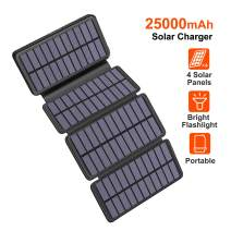 Solar Charger 25000mAh, Riapow Waterproof Solar Power Bank with 4 Panels, Dual USB & Type-C Input for Electronic Devices Like Phones, ipad and Laptop, Outdoor Camping