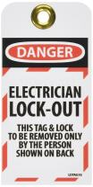 NMC LOTAG16 Danger – Electrician Lock-Out – This TAG & Lock to BE Removed ONLY by The Person Shown ON Back Tag – [Pack of 10] Vinyl 2 Side Danger Tag