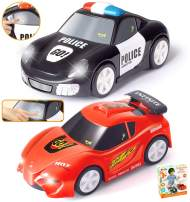 "JOYIN 2 PCs Police Car and Race Car (6.5"" Long) with Flashing Lights and Siren Sounds, Great Vehicle Toys for 3 4 5 Years Old Toddlers, Boys, Girls and Kids Birthday Gift and Holiday Basket Stuffers."