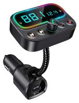 """Bovon Bluetooth 5.0 FM Transmitter for Car, USB C PD Bluetooth Car Adapter with Dual Mic/2.0"""" LCD Display/3 USB Ports/9 Color LED Backlit, Wireless Car Kit Music Player Support U Disk/AUX Output"""