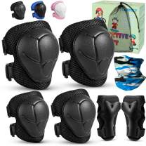 Kids Knee Pads and Elbow Pads Protective Gear 6 in 1 Set Kneepads with Wrist Guards Adjustable for 3-8 Years Kids Toddlers Youth Boys Girls, Rollerblading Skateboard Roller Skating Cycling Bike Sports