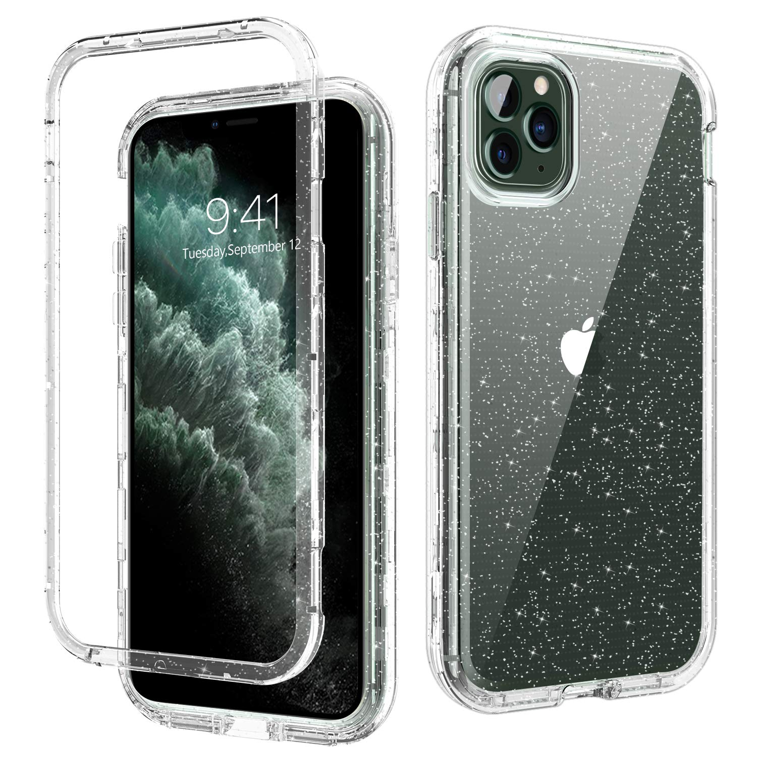 iPhone 11 Pro Max Case Glitter DOMAVER iPhone 11 Pro Max Phone Cases Three Layer Heavy Duty Hybrid Hard PC Flexible TPU Bumper Protective Shockproof Cover Case for iPhone 11 Pro Max 6.5 Inch (2019)